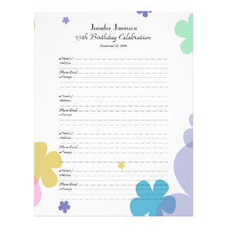75th Birthday Party Guest Book Sign-In Page Letterhead