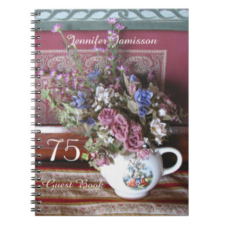 75th Birthday Party Guest Book, Vintage Teapot Note Book