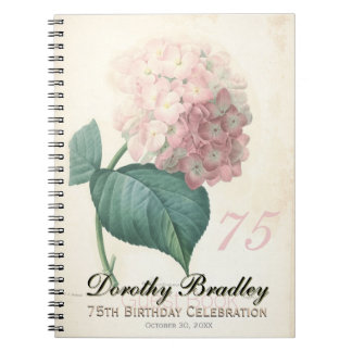 75th Birthday Party - Hydrangea Custom Guest Book Spiral Note Books