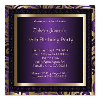 75th Birthday Party 5.25x5.25 Square Paper Invitation Card
