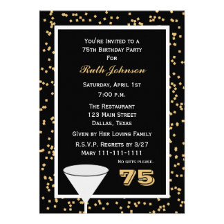 75th Birthday Party Invitation -- 75 and Confetti Custom Announcements