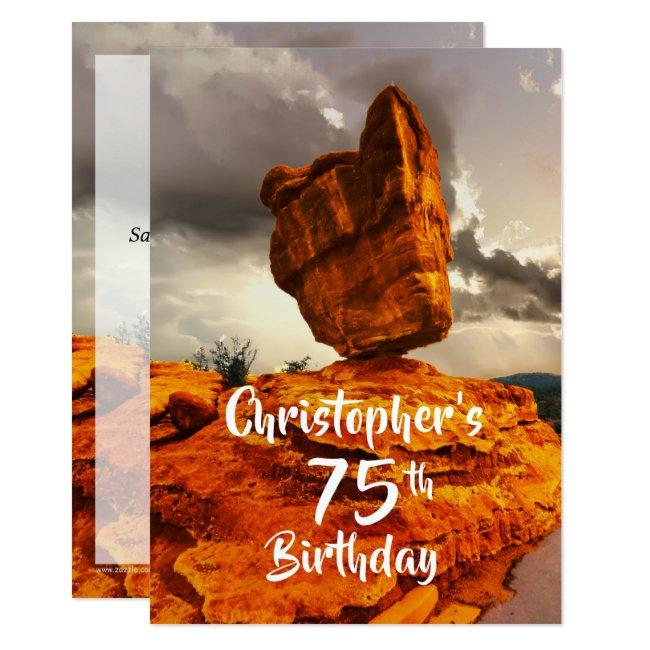 75th Birthday Party Invitation, Balanced Rock