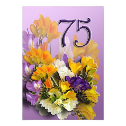 75th Birthday Party Invitation - Bouquet
