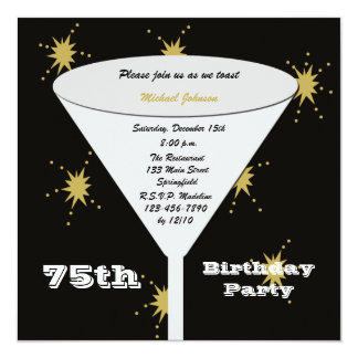 75th BIrthday Party Invitation Gold 75th Toast