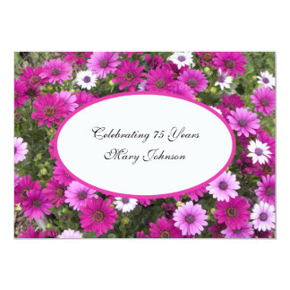 """75th Birthday Party Invitation -- Gorgeous Floral 5"""" X 7"""" Invitation Card"""