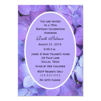 "75th Birthday Party Invitation -- Hydrangea 5"" X 7"" Invitation Card"