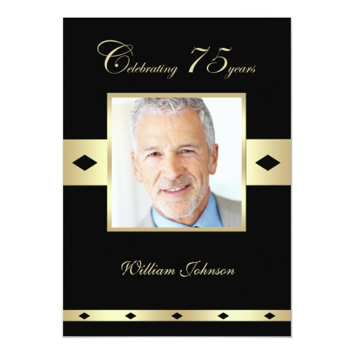 75th Birthday Party Photo Invitation - Choice of Colors