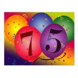 75th birthday party invitation postcard