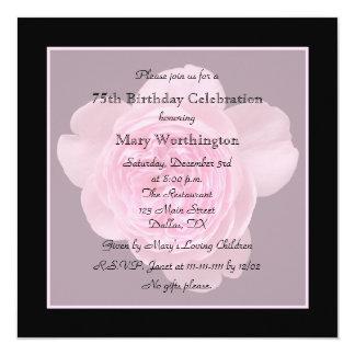 "75th Birthday Party Invitation - Rose for 75th 5.25"" Square Invitation Card"