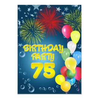 "75th Birthday party Invitation with balloons 5"" X 7"" Invitation Card"