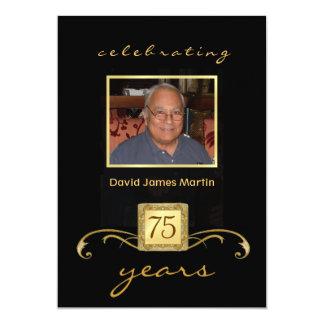 75th Birthday Party Invitations - Mens Formal