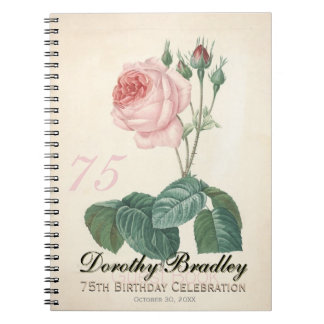 75th Birthday Party Old Rose Custom Guest Book Spiral Notebook
