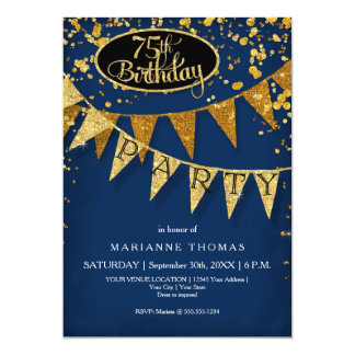 75th Birthday Party Pennant Banner Confetti Card