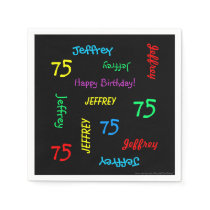 75th Birthday Party Repeating Names Black Paper Paper Napkin