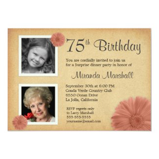 75th Birthday Party Rustic Daisy 2 Photo Invites