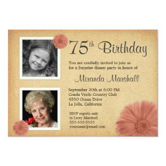 75th Birthday Party Rustic Daisy 2 Photo Invites