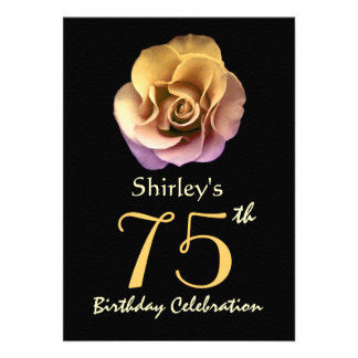 75th Birthday Party Sophisticated Gold Rose Personalized Invitations