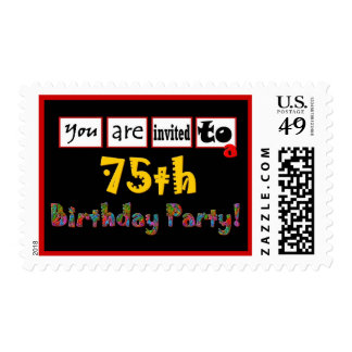 75th Birthday Party Stamp Wild & Colorful Letters