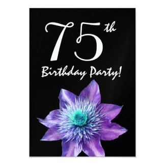 75th Birthday Party Template Purple Passion Flower 5x7 Paper Invitation Card