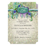 75th Birthday Party Ticket Peacock Feather Card
