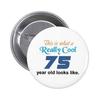 75th Birthday Pinback Button