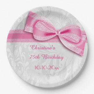 75th Birthday Pink Damask and Faux Bow 9 Inch Paper Plate