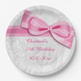 75th Birthday Pink Damask and Faux Bow Paper Plate
