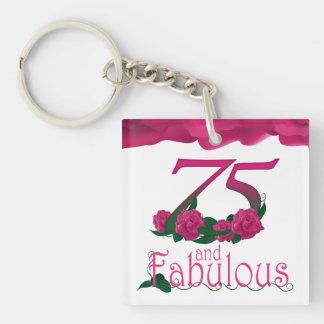 75th Birthday pink flower photo floral keychain