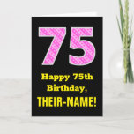 "[ Thumbnail: 75th Birthday: Pink Stripes and Hearts ""75"" + Name Card ]"