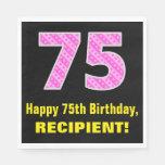 "[ Thumbnail: 75th Birthday: Pink Stripes and Hearts ""75"" + Name Napkins ]"
