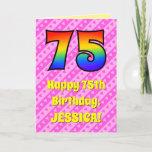 [ Thumbnail: 75th Birthday: Pink Stripes & Hearts, Rainbow # 75 Card ]
