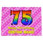 [ Thumbnail: 75th Birthday: Pink Stripes & Hearts, Rainbow # 75 Gift Bag ]