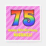 [ Thumbnail: 75th Birthday: Pink Stripes & Hearts, Rainbow # 75 Napkins ]