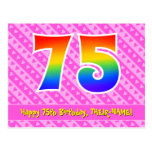 [ Thumbnail: 75th Birthday: Pink Stripes & Hearts, Rainbow 75 Postcard ]