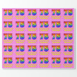 [ Thumbnail: 75th Birthday: Pink Stripes & Hearts, Rainbow # 75 Wrapping Paper ]