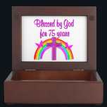 "75TH BIRTHDAY PRAYER PERSONALIZED DESIGN KEEPSAKE BOX<br><div class=""desc"">This charming 75 year old has been blessed by God for 75 years. Enjoy this pretty pink rainbow and cross 75th birthday design in Tees, Apparel, and Gifts such as mugs, tote bags, jewelry and more. Your heavenly 75 year old will adore this unique and one of a kind 75th...</div>"