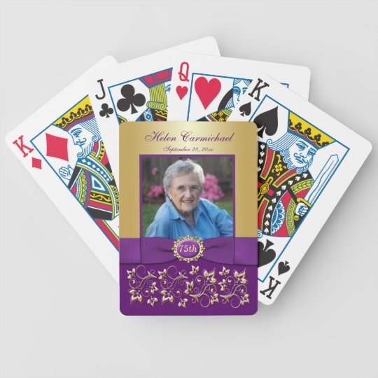 75th Birthday Purple Gold Floral Playing Cards Zazzle