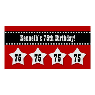 75th Birthday Red Black White Stars Banner V75S Poster