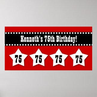 75th Birthday Red Black White Stars Banner V75S Posters