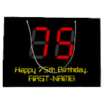 "[ Thumbnail: 75th Birthday: Red Digital Clock Style ""75"" + Name Gift Bag ]"
