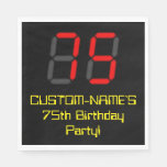"[ Thumbnail: 75th Birthday: Red Digital Clock Style ""75"" + Name Napkins ]"