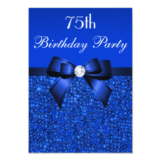 75th Birthday Royal Blue Sequins Bow and Diamond 5x7 Paper Invitation Card