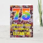 "[ Thumbnail: 75th Birthday; Rustic Autumn Leaves; Rainbow ""75"" Card ]"