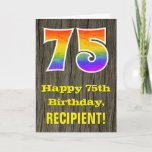 "[ Thumbnail: 75th Birthday: Rustic Faux Wood Look, Rainbow ""75"" Card ]"