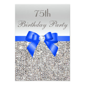 75th Birthday Silver Sequin Royal Blue Bow Diamond Card