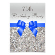 75th Birthday Silver Sequin Royal Blue Bow Diamond Invitation