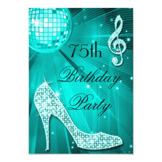 75th Birthday Sparkle Heels and Teal Disco Ball Card