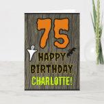 [ Thumbnail: 75th Birthday: Spooky Halloween Theme, Custom Name Card ]