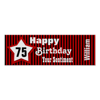 75th Birthday Star Banner Custom Sentiment Z08M Poster