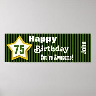 75th Birthday Star Banner Striped B03A GREEN Poster
